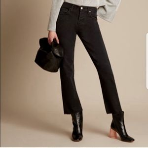 CURRENT ELLIOTT The Crossover Black Jeans Raw Hem